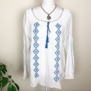 Lucky brand embroidered white tunic